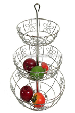 3 tier wire fruit metal basket aluminium stainless steel hanging basket fruit basket stand