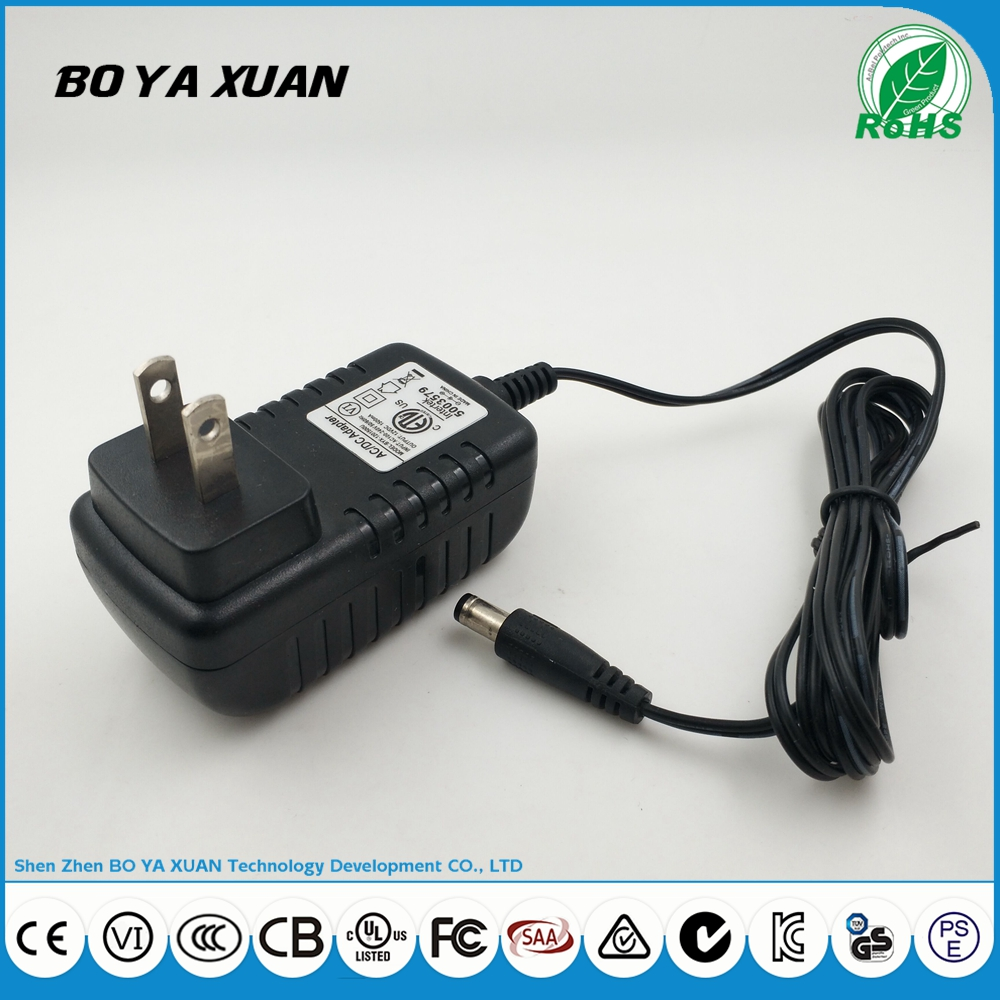 AC DC adapter 12V 1.5A audio and video player charger with ETL certificate
