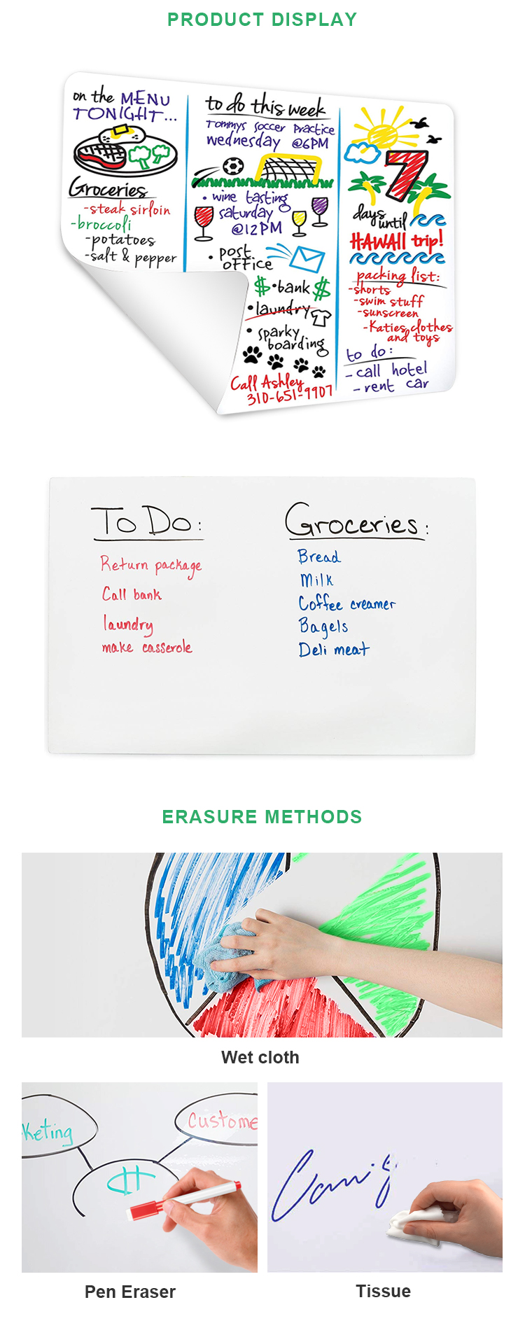 New Product Dry Erase Board Memo Sheet Self-Adhesive Whiteboard Sticker For Kids