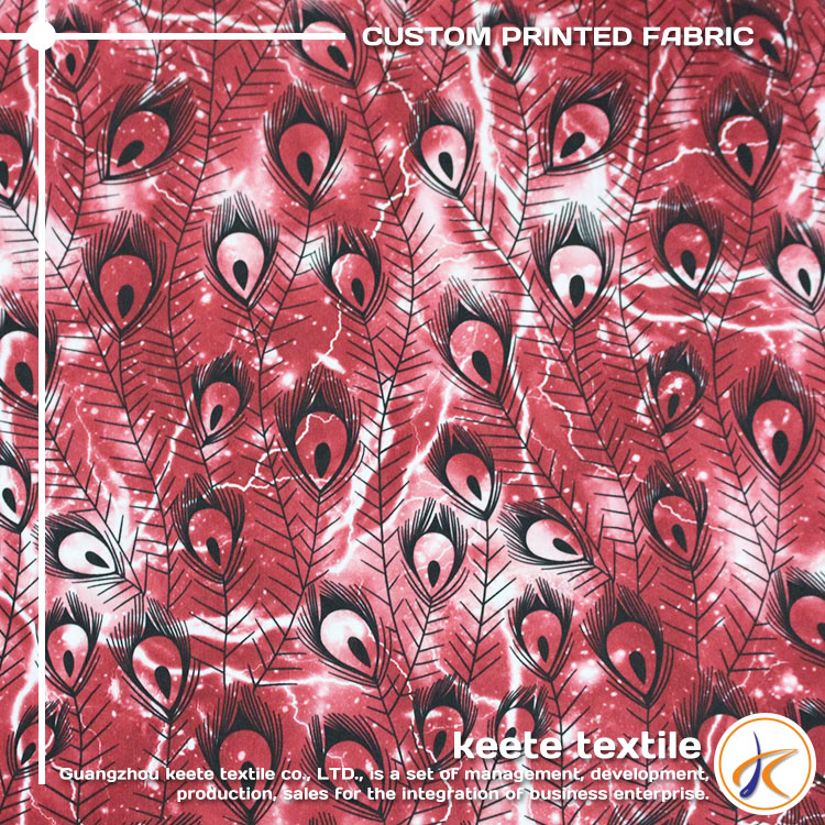 OEM service feather pattern custom cotton cambric printed fabric