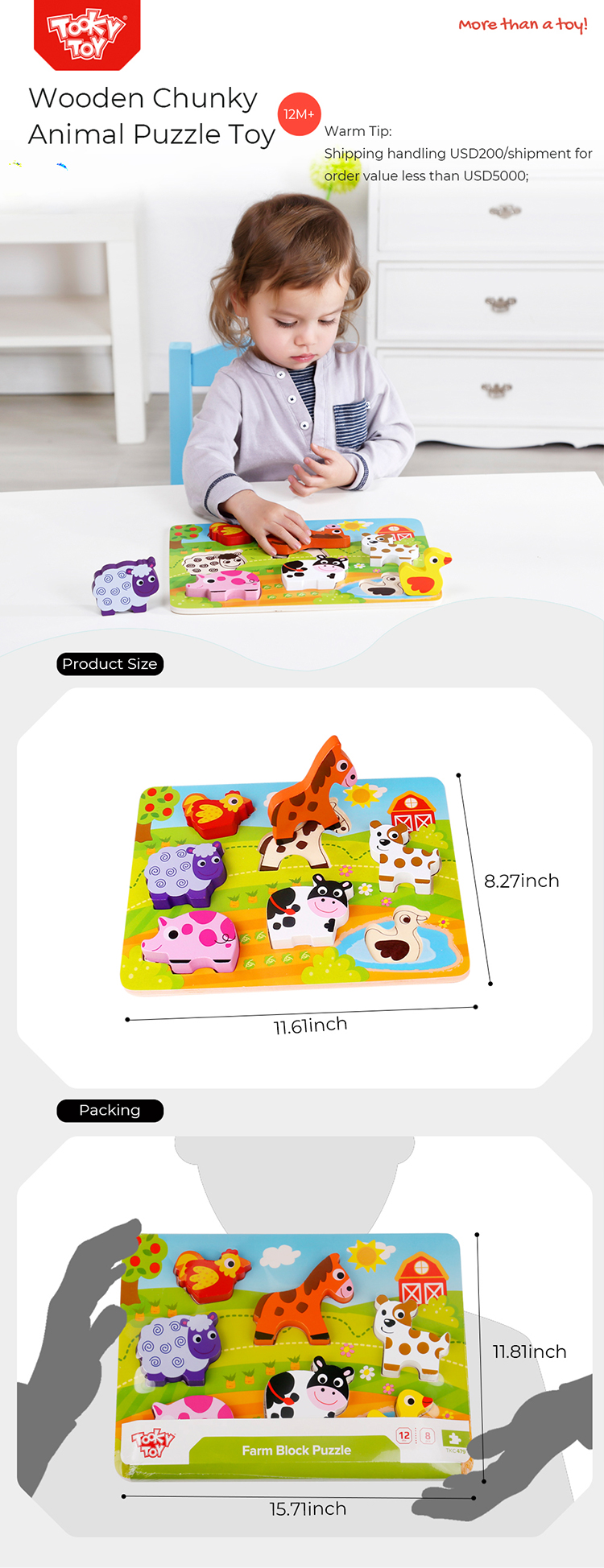 Baby Chunky Farm Animal Educational Game Toy Wooden Puzzle For Children