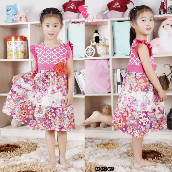 cotton pink flower print princess birthday dresses for girls.