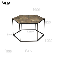 oriental style vintage industrial hexagonal coffee/cafe table small