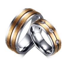 Titanium steel lovers ring, titanium steel CAM 18 k gold ring, diamond-encrusted lovers ring YSS648
