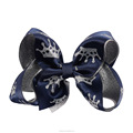 Crown Satin Ribbon Silver Organza Hair Bow For Girl