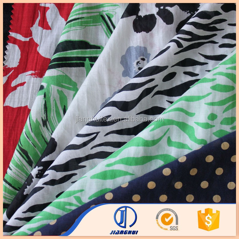 China silk 70/30 printed silk cotton voile fabric for garment