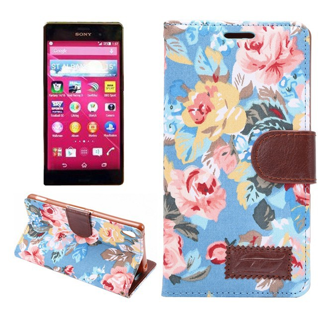 Folio Flower Stand Wallet PU Leather Case Cover For Sony Xperia Z4