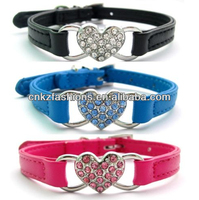 Pink/Blue/Black Pu Leather Rhinestones Pet Dog Cat Collars with Heart Charm