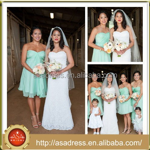 BDR7 Gorgeous Custom Made Different Styles Knee Length Chiffon Mint Green Short Maid of Honor Dress