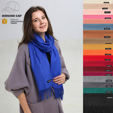 warm winter lady multi colored and bright solid color cashmere scarf