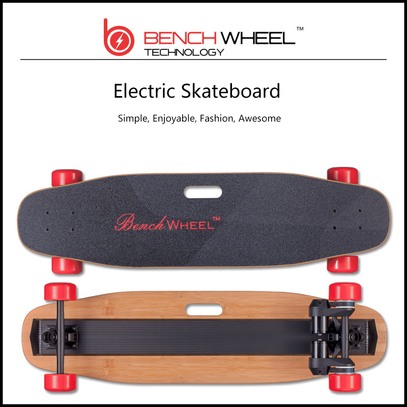 OEM logo printed pro bamboo glass fiber electric skateboard