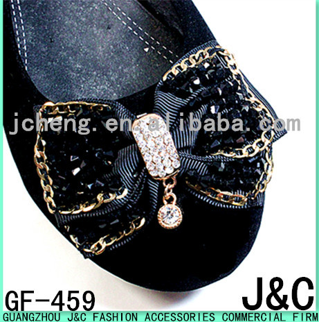 Black Color Glass Stone Decorated Shoe Flower for Flats
