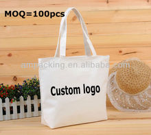 custom printed logo gift canvas bag for shipping/wholesale handle tote bags/packanging woven bag