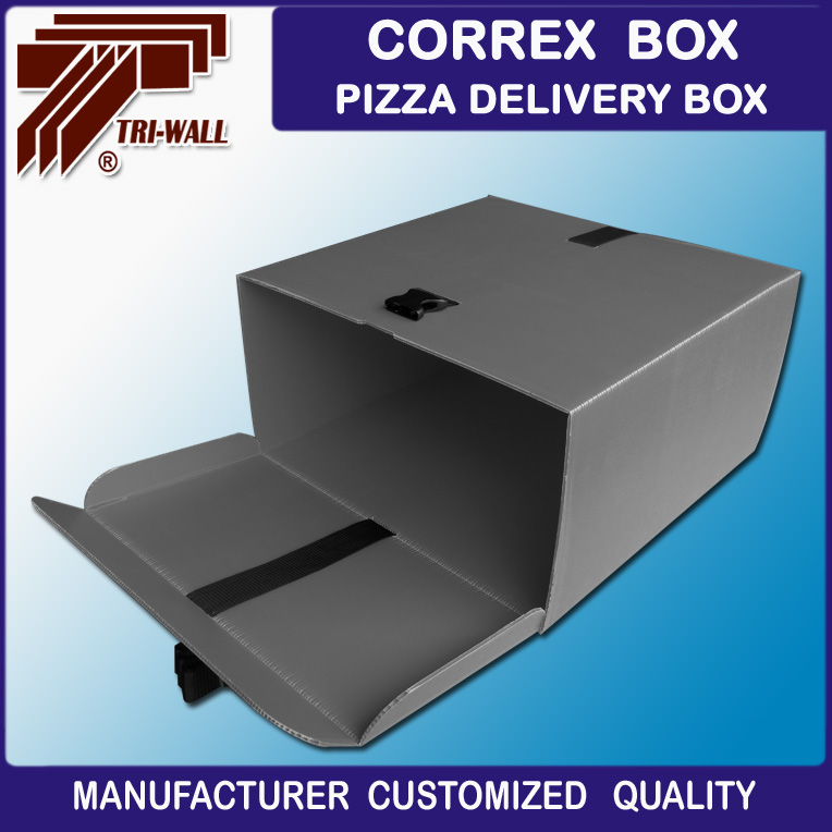 Correx Plastic corrugated pizza delivery box for scooter bike motorcycle