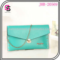 2014 colorful fashion design woman purse PU leather wallet,studed envelope bag