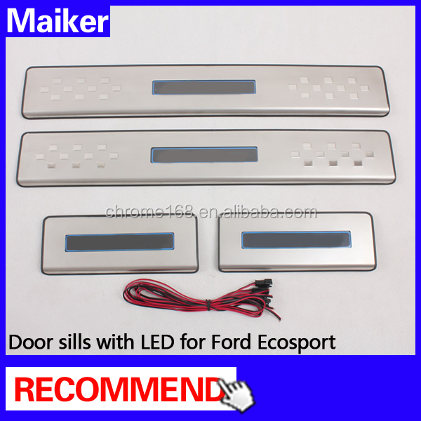SUV accessories Stainless steel LED Door sill Scuff Plate For Ford Ecosport auto parts from Maiker