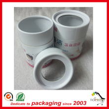 Color printing cardboard white paper tube round box gitf packaging with PVC windows lid cap