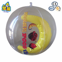 Clear cartoon printing beach ball with 3D animal inside for advertising