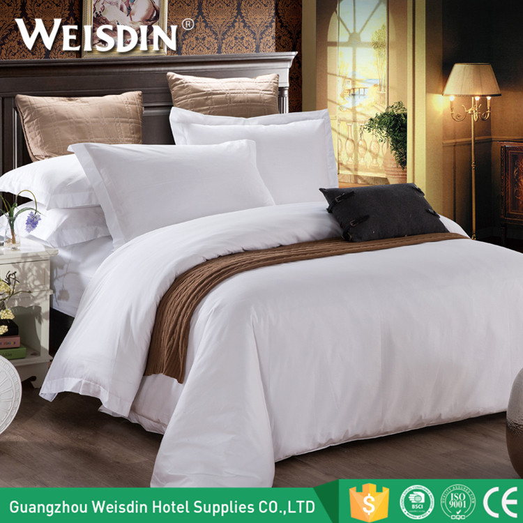 High quality white bed set king size luxury hotel 300TC 100% cotton bedding set