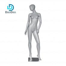 Fashion silver gray color short hair no face standing posture fiberglass full body female mannequin
