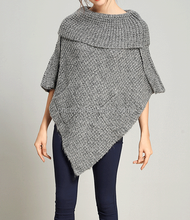 PK17ST384 turtle down neck loose knitting wool cashmere ponchos woman