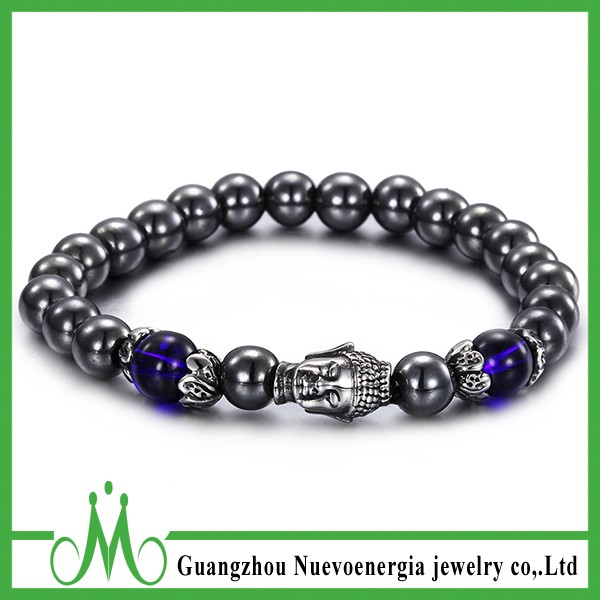 Fashion Stainless Steel Buddha Link Black Gallstone Elastic Beaded Bracelet
