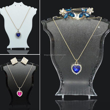 Pendant Necklace Earring Neck Chain Display Stand Holder Plastic Showcase with base