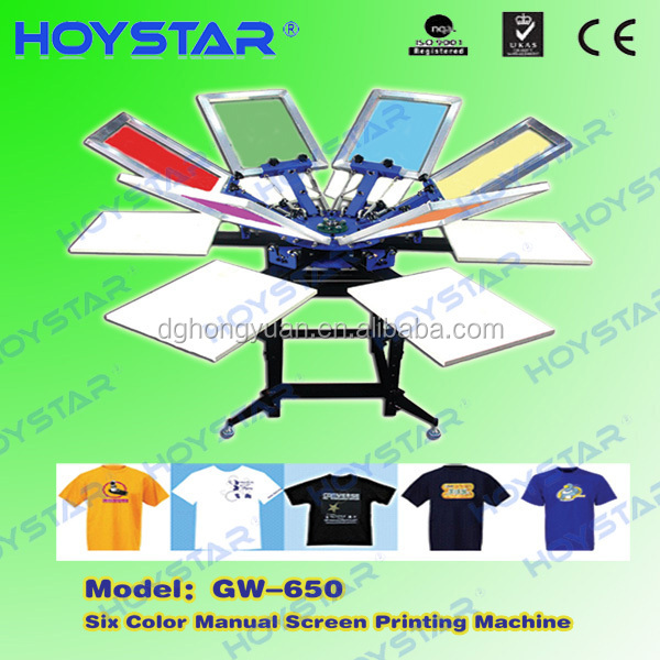 Manual t-shirt printer silk 6 screen printers machine