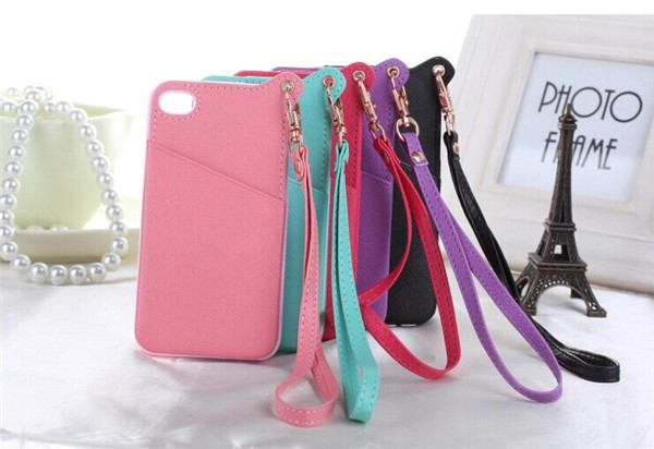 TPU+PU Phone case credit card slot case for iphone 4 back cover case