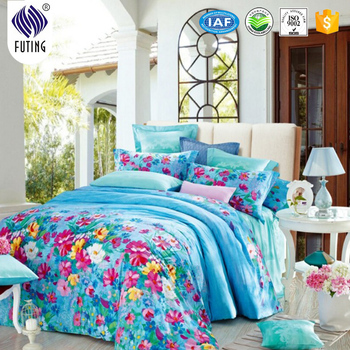 Hot Sale Bed Sheet New Design Elegant Flower Printing Colorful High Quality  Bed Sheet Bed Cover