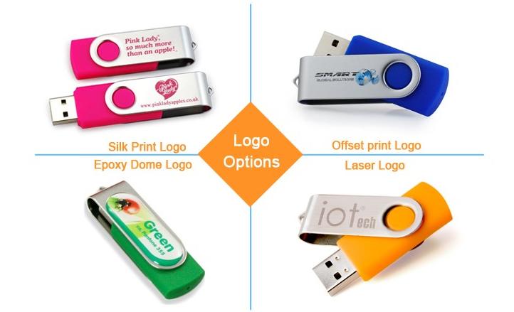 4GB Metal Twister USB Pendrive , Swivel USB Flash Drive with laser logo