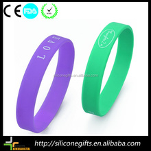 cool boys double layer color silicone slogan bracelet