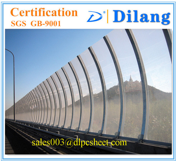 Clear polycarbonate sheet noise barrier for highway use with double uv-coating