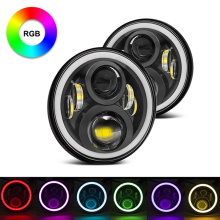 7inch 60w LED Headlight Bluetooth Phone APP Control 7 inch round Jeeps RGB halo ring led headlights