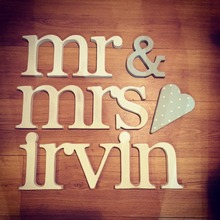 Personalised Wooden Wedding decor mr & mrs Letters