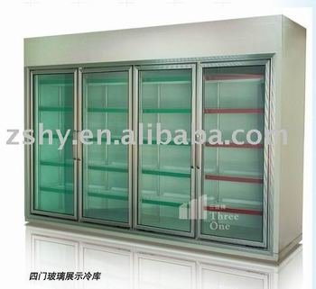 Supermarket glass door freezer (cold room)