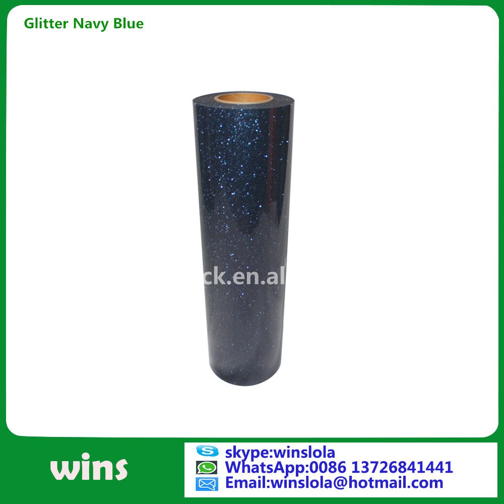 navy blue glitter film for garment