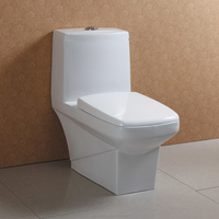 High Gloss Porcelain Square One Piece Toilets with Soft Close PP Seat Cover