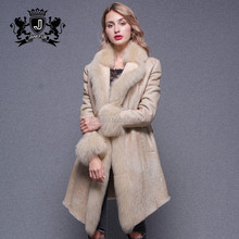 Modern Style Winter Fox Placket Double Face Genuine Sheepskin Beige Leather Jacket