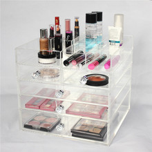 Handmade Multi-function Cosmetic Beauty Cube Storage Box ,Large 5 Drawer Acrylic Makeup Cosmetic Organizer With Top Storage Tray