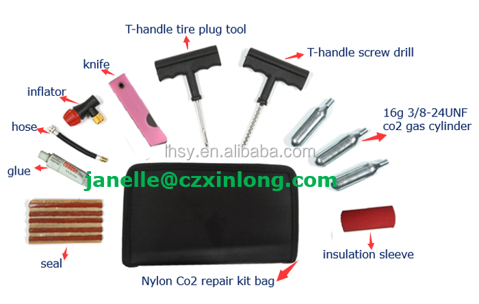 LHSY pipe connection 16g cartridge Co2 tyre puncture repair kit