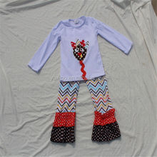New Design For 2014 Little Girl Sweet Child Long Sleeve Turkey Top And Ruffle Chevron Pant Girls Thanksgiving Outfit