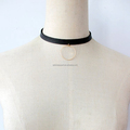 PU leather Strap Choker Drop Circle Choker Necklace