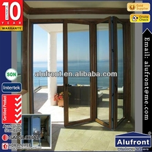 soundproof aluminum clad wood bi folding door made by China manufacturer