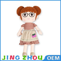 Super soft velboa real live mini plush baby girl doll with big shining eyes