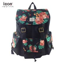 600D polyester backpack with flower printing