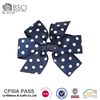 2016 New Arrival Spring wholesale traditional navy blue polka dot bow hairpin