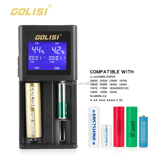 Intelligent Multifunctional 4 Slots Charger Top Sale Golisi S2 Lcd With Car Charger For Imr/li-ion/nimh Batteries