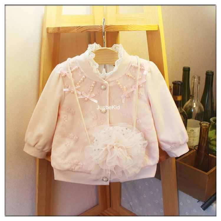 New Design Girls Coat Lace Beading Baby Boutique Winter Jacket