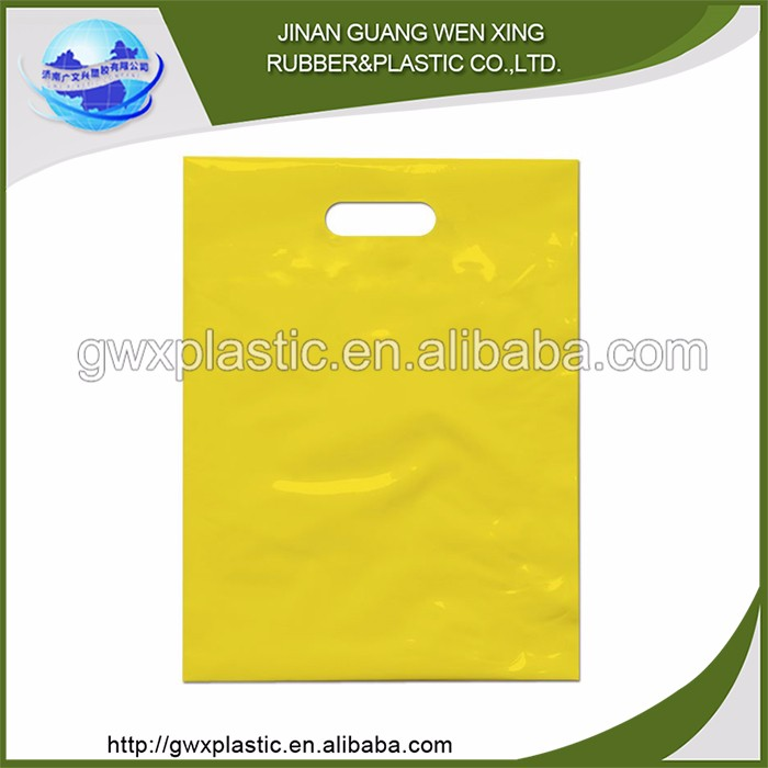Wholesale biodegradabele plastic die cut plastic carry bag and plain cheap brown bags with handles
